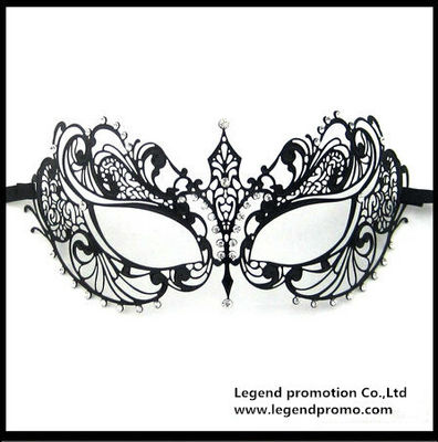 China Hot Sell Wholesale Luxury Sex Appeal Black Metal Laser Cut Masquerade Mask With Rhinestone distributor